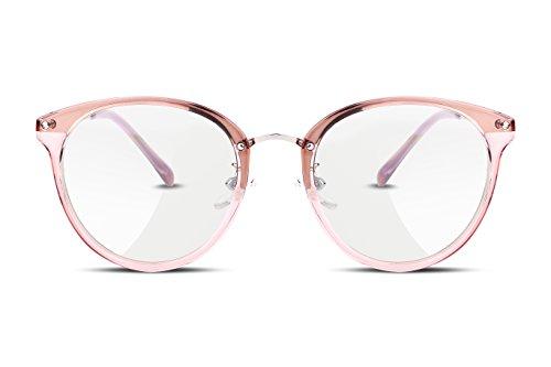 FEISEDY Klassische Round Rahmen Ohne Sehstärke Brillengestelle Nerdbrille clear Linsen Metalltempel Fake Brille für Damen Herren B2260
