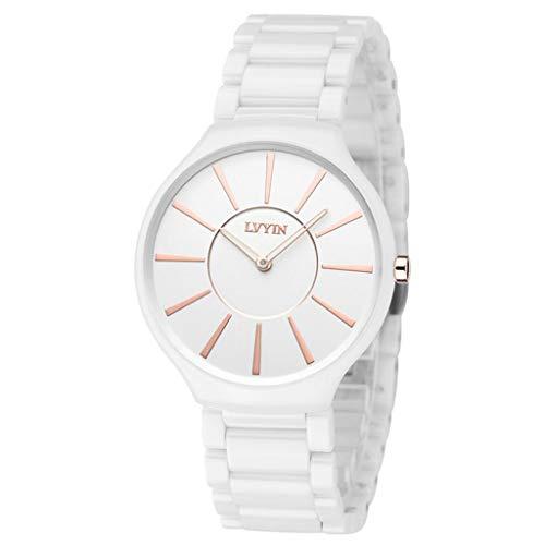 Hellery Keramikuhr Weiß Armbanduhr Japan Analog Quarz Geschäftsuhr Edelstahl Armband