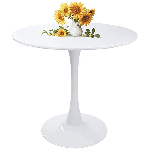 Modern Round Dining Table White with Pedestal Base in Tulip Design, Mid-Century Leisure Table for Kitchen Dining Room & Living Room