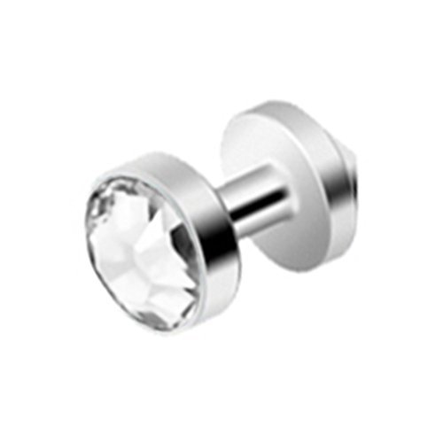 Piercing de titanio sólido (G23) (transparente) con gema pa