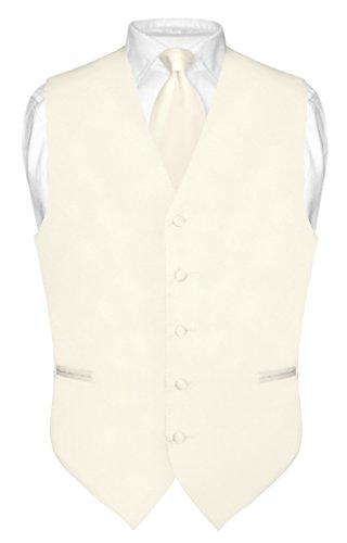 Men's Dress Vest & Necktie Solid Cream Color Neck Tie Set for Suit or Tux sz Med