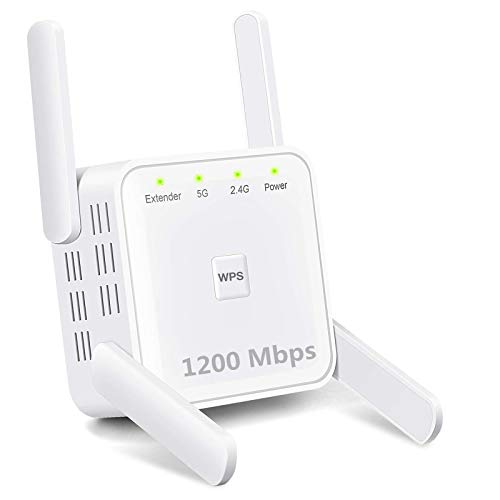 WiFi Range Extender, 1200Mbps Wireless Signal Repeater Booster, Dual Band 2.4G and 5G Expander, 4 Antennas 360° Full Coverage, Extend WiFi Signal to Smart Home & Alexa Devices(KW1203M05) (White)