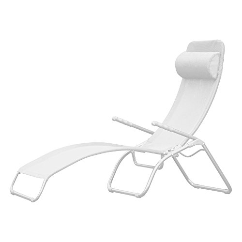 Jan Kurtz, Fiam, Samba, WIT WIT, Limited Edition, zonneligstoel, opvouwbare ligstoel, relaxstoel, sauna ligstoel, kunststof weefsel, zonder nekkussen, aluminium frame WIT gepoedercoat