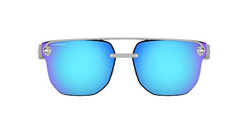 Oakley Men's OO4136 Chrystl Square Metal Sunglasses, Satin Chrome/Prizm Sapphire, 67 mm