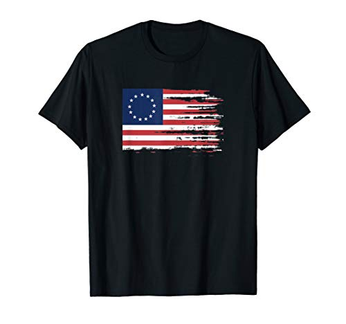 4th of July Patriotic Betsy Ross battle flag 13 colonies T-Shirt