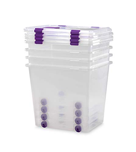 TODO HOGAR - Caja Plástico Almacenaje Grandes Multiusos con Ruedas - Medidas 510 x 410 x 460 - Capacidad de 70 litros (4)