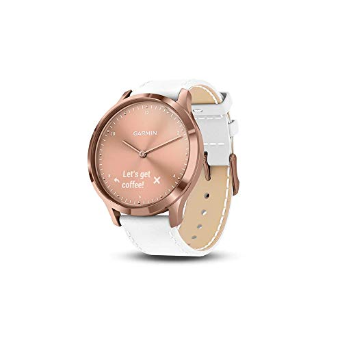 Garmin Vivomove HR (Premium) Rose Gold PVD Stainless Steel Case with White Italian Leather Band(010-01850-AB)