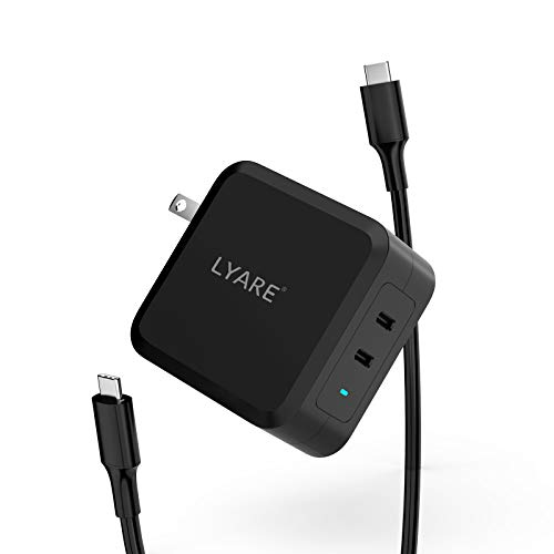100W USB C Charger Package, LYARE Wall Charger Dual Ports & USB-C 100W Cable for MacBook Pro with GaN Tech, PD Adapter Compatible with Surface Pro, One Plus, iPhone, iPad Pro, Samsung Galaxy (Black)