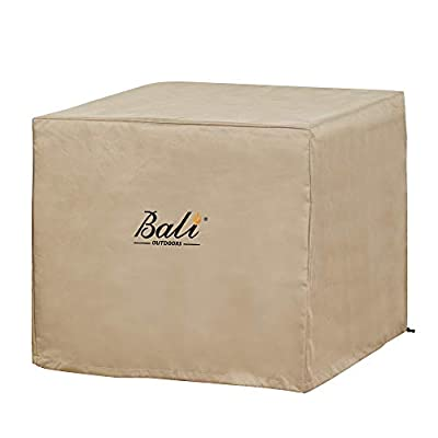 BALI OUTDOORS 28 Inch Square Patio Fire Pit Table Cover, Heavy Duty, Waterproof and Weather Resistant Oxford Fabric Cover, Brown