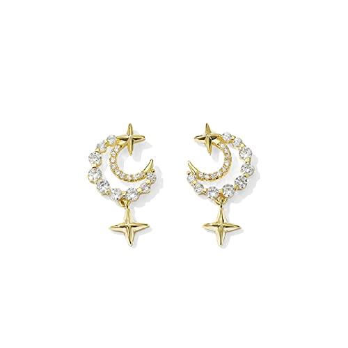S925 pendientes pequeños de estrella y luna de aguja de plata pendientes de personalidad de diamantes llenos pendientes de moda lindos temperamento