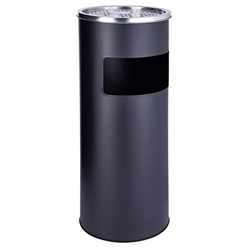 SVITA Standaschenbecher 30 Liter mit Mülleimer Aschenbecher Abfalleimer mit Inneneimer (Schwarz)
