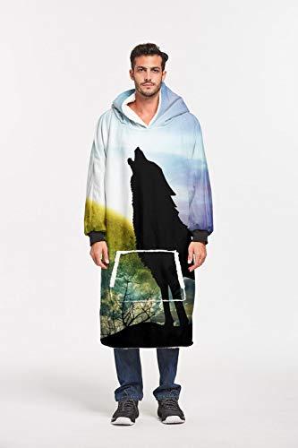 Sweatshirt, diermotief, bedrukt, grote wolf, sherpa, truien, oversized winter, warm, dik, sherpa, hoodie, comfortabel voor mannen en vrouwen volwassenen