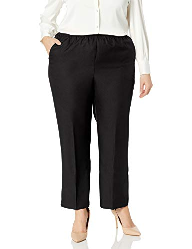 Alfred Dunner Womens Plus Average Pant, Black, 20W