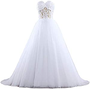 ANTS Women's Tulle Lace Ball Gown Wedding Dresses for Bride