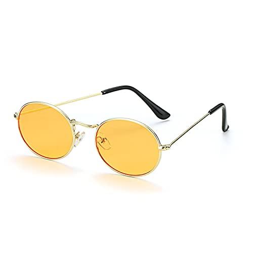 NJJX Gafas De Sol Ovaladas De Moda Marco Pequeño De Metal Retro Plateado Dorado Para Mujeres Hombres Tonos De VeranoGafas De Espejo GradienteUnisexOro-Naranja