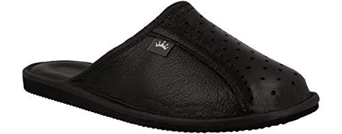 RBJ leather shoes Herren Leder Hausschuhe Männer Pantoffeln Pantoletten Hausschuh Pantoffel (46 EU, Schwarz 890)