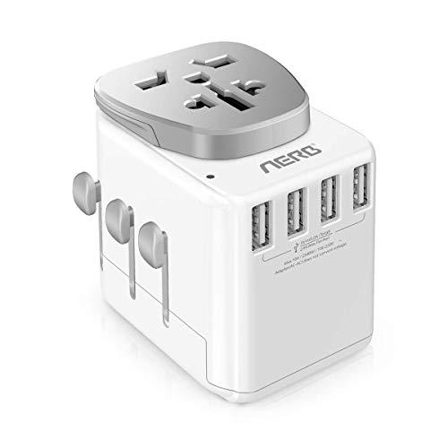 Aerb Reiseadapter, 2 in 1 Reisestecker Weltweit : Universal Travel Adapter mit 4 USB Ports, Demontierbarer Konverter und AC Steckdose Für EU, UK, AU, USA, CN Über 150 Ländern