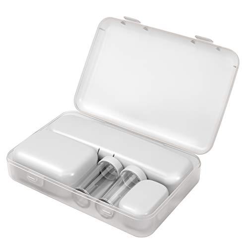 Coza – Kit de Voyage incassable à paroi Rigide homologué TSA avec conteneurs pour Produits de Toilette de Voyage, Pots à crème Anti-Fuite et Compartiments multiusage. Blanc