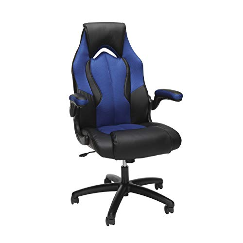 OFM ESS Collection High-Back Racing Style Bonded Leather Gaming Chair, in Blue (ESS-3086-BLU)