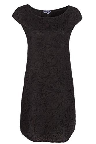 PEKIVESSA Damen Leinenkleid Häkel-Stickerei Sommerkleid Schwarz 40 (Herstellergröße L)