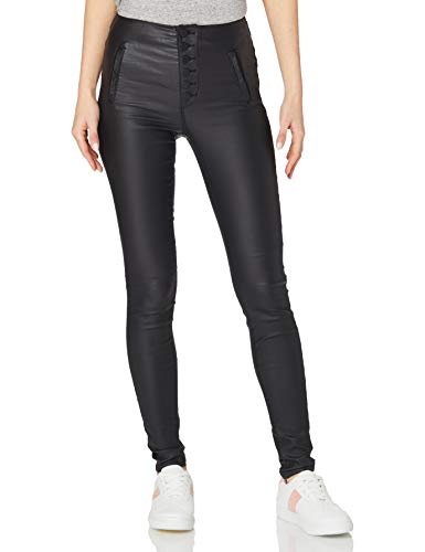 Only ONLROYAL HW Coated Button Pant PNT RP Jeans, Black, 32 Long Femme