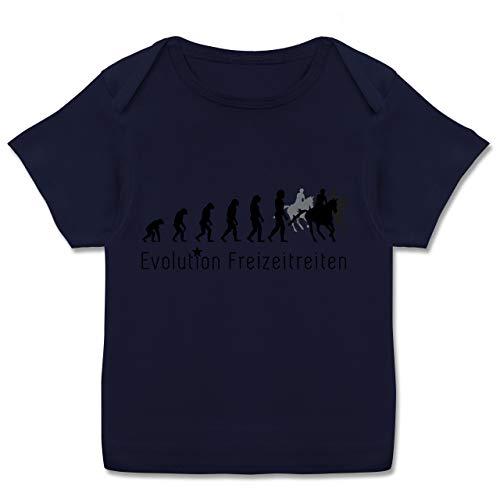 Evolution Baby - Freizeitreiten Ausreiten Reiten Evolution - 68-74 - Navy Blau - T-Shirt - E110B - Kurzarm Baby-Shirt für Jungen und Mädchen