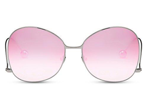 Cheapass Sonnenbrille Cat-Eye Silber Verspiegelt Rosa UV400 Designer-Brille Metall Rahmen Damen Frauen
