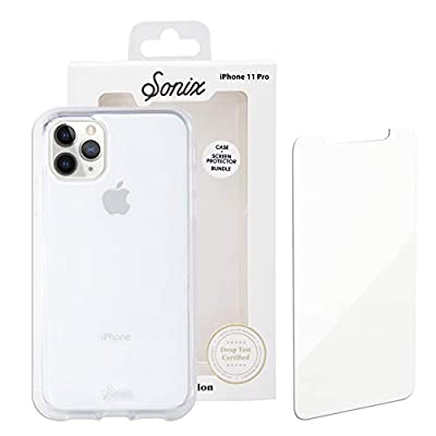 Sonix Clear Case for iPhone 11 Pro and Tempered Glass Screen Protector [Military Drop Test Certified] Clear Case and Screen Protector Bundle Pack for Apple iPhone X/XS, iPhone 11 Pro