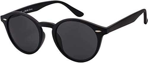 Sonnenbrille Herren Damen La Optica UV400 CAT 3 Retro Vintage Hippie Rund Round - Matt Schwarz (Grau)
