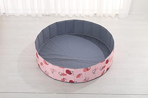 bamitus - Piscina de Bolas Plegables para Bebe y Niños para Jugar Arenas y Juguetes, 120 cm Diámetro, Diseño Impreso (Monstruito Rosa, 120x30 cm)