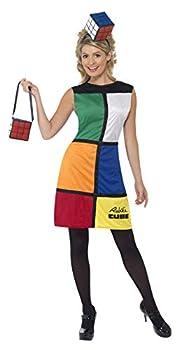 Smiffys Women s Rubik s Cube Costume Dress Headband & Bag Size  M Color  Multi 38791