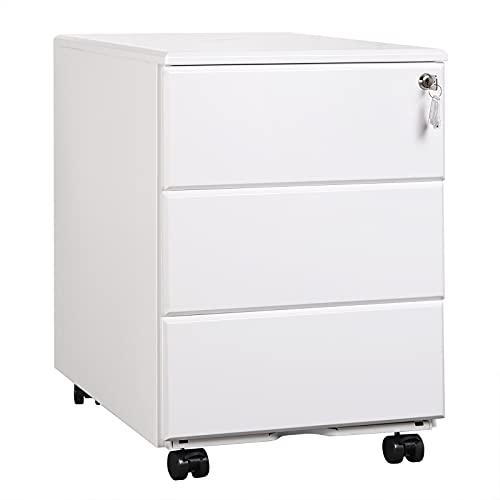 WOLTU Rollcontainer Metall, Mobiler Aktenschrank Büroschrank mit 3 Schubladen Bürocontainer, abschließbares und verstellbares Hängeregister, vormontiert, Büro, Home Office Weiß SK024ws