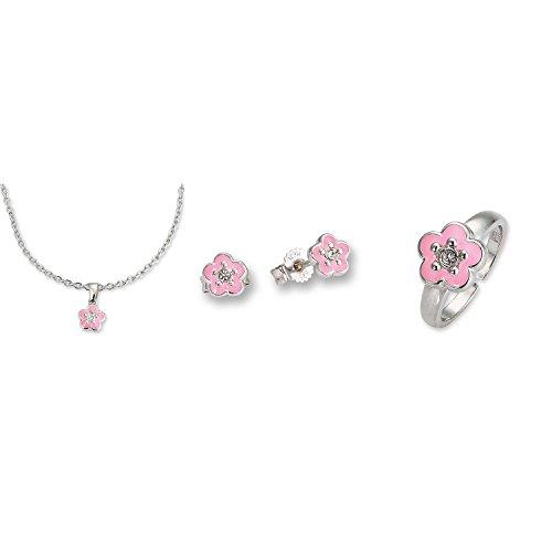 Schmuck-Set 'Blume' in rosa, Ohrstecker, Ring und Halskette mit Anhänger aus 925er Silber