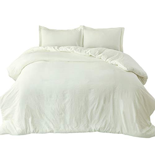 Bedsure Off White Washed Duvet Cover Set Full/Queen Size with Zipper Closure,Ultra Soft Hypoallergenic Comforter Cover Sets 3 Pieces (1 Duvet Cover +2 Pillow Shams), 90X90 inches