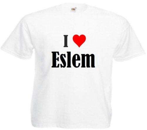 T-Shirt I Love Eslem Größe 4XL Farbe Weiss Druck Schwarz