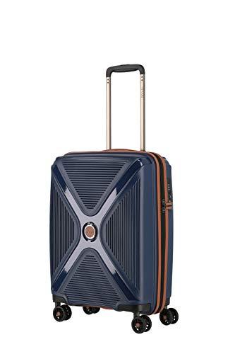 TITAN 4-Rad Handgepäck Koffer Hartschale + TSA Schloss erfüllt IATA Bordgepäckmaß, Gepäck Serie PARADOXX: Hartschalen Trolley mit Akzenten in Leder Optik, 833406-20, 55 cm, 40 Liter, navy (blau)