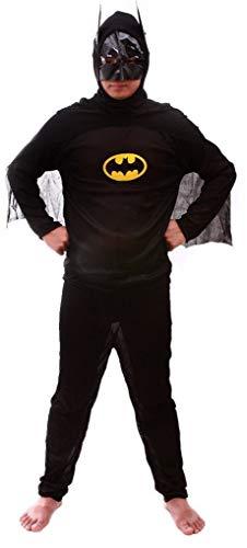 Maat m - kostuum - vermomming - carnaval - halloween - vleermuisman - superheld - zwarte kleur - volwassenen - man - jongen batman