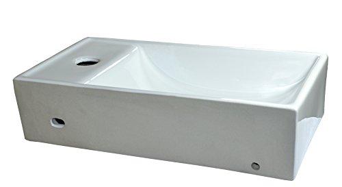 Cerámica lavabo pequeño rectangular blanco pared montaje para lavabo cerámica 40,5x 21x 10cm