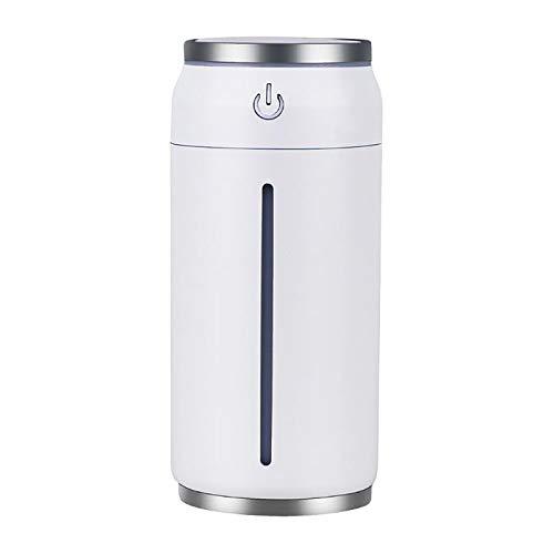 LIXUE Humidificador de Aurora Boreal para Coche 300ML, Humidificador con Alarma Limpieza Humidificador Ultrasónico con Apagado Automático para Dormitorio, Hogar y Oficina de hasta 20-40 m²,Blanco