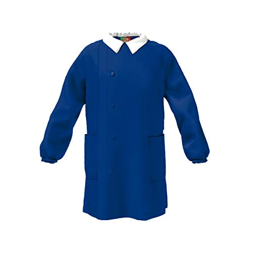 CONFEZIONI MARIANO Grembiule Scuola Made in Italy - Elementare Bambino Colore Blu Senza Ricamo, adatto ad essere personalizzato. Abbottonatura Laterale con Bottoni, Colletto Bianco Staccabile