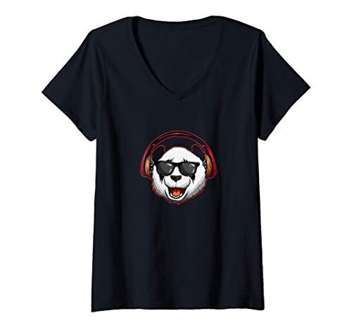 Mujer Panda con auriculares y gafas de sol Funky Hipster Panda...