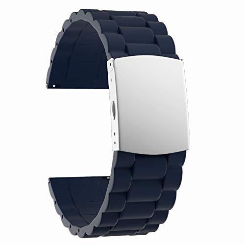 SOUWILA Correa Reloj Recambios Correa Relojes Caucho 16/18/20/22/24mm Silicona Correa Reloj con Acero Inoxidable Hebilla Desplegable (22mm, Navy Blue-Silver)