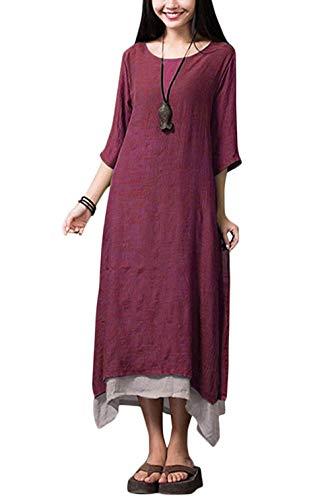 Romacci 3/4 de vestir de manga para Mujeres XL Granate