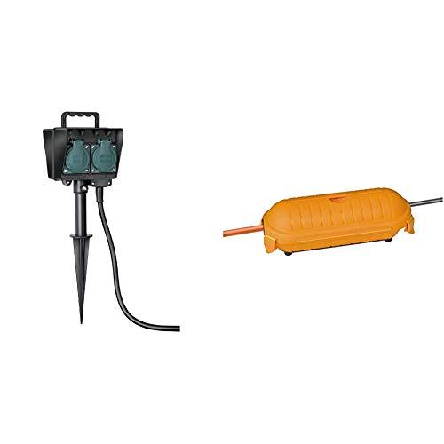 Brennenstuhl Gartensteckdose, Außensteckdose 4-fach mit Erdspieß, witterungsbeständiger Kunststoff + Brennenstuhl Safe-Box BIG IP44 / Schutzbox für Verlängerungskabel