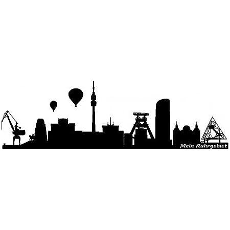 Samunshi Ruhrgebiet Skyline Wandtattoo Sticker Aufkleber Wandaufkleber City Gedruckt Ruhrgebiet 120x40cm Schwarz Küche Haushalt
