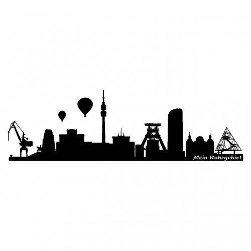 Skyline4u Ruhrgebiet Wandtattoo Skyline Wandtattoo in 6 Größen und 19 Farben (120x36cm schwarz)