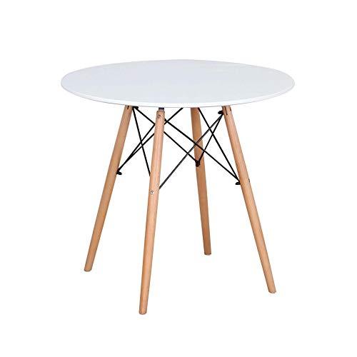 N / A Tisch - Skandinavischer runder Esstisch mit Buchenbeinen, 2-4 Personen 80 x 75 cm, Für Büro, Esszimmer, Wohnzimmer (Weiß)