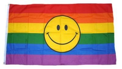 Fahne / Flagge Regenbogen Smile NEU 90 x 150 cm Flaggen