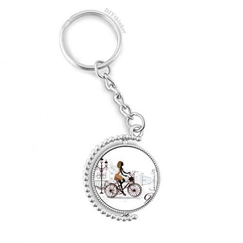 DIYthinker Fahrrad-Dame Frankreich Illustration Muster Drehbare Schlüsselanhänger Ringe 1.2 Zoll x 3.5 Zoll Mehrfarbig