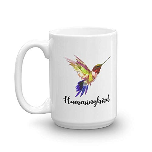 Cute Hummingbird Painting Print Coffee & Tea Gift Mug, Favors, Ornament, Kitchen Supplies, Products, Items, Birdwatching Collectibles and Desk Décor for A Bird Lover Nana, Aunt & Mom